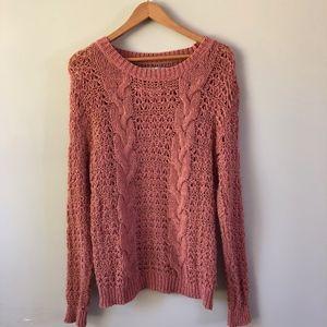 LC Lauren Conrad Open Cable Knit Crewneck Sweater